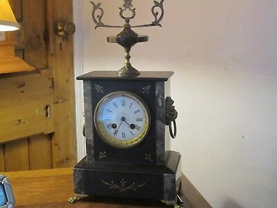 Antique Slate/marble Chiming Mantel Clock - 1850's - In V.g.w.o.