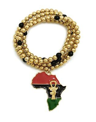 "Egypt Eye of Heru Ankh Africa Pendant 6mm 30"" CCB Bead Hip Hop Necklace RC2932"