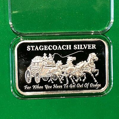 Stagecoach Divisible Into 4x 1/4 Oz = 1 Troy Oz .999 Fine Silver Ingot Bar Medal