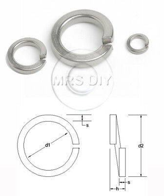RECTANGULAR SPRING COIL WASHERS A2 & A4 Stainless Steel Din 127B M1.6 up to M39