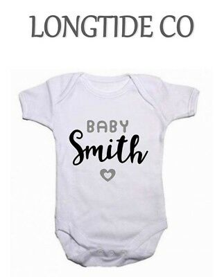 New arrival Your Text Surname Personalised Baby Vest Grow Top New Baby,Funny