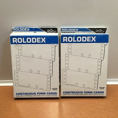 "Lot of 2 Rolodex White Continuous Form Cards C24CF250  2 1/4 x 4"" for Card Files"