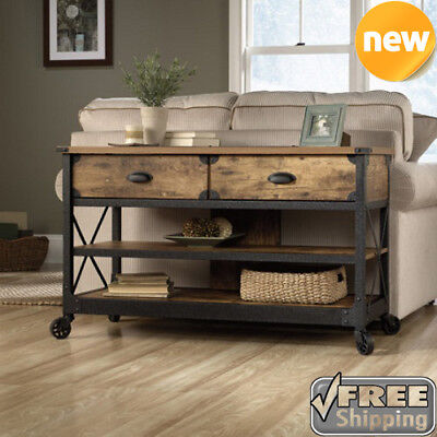 TV Stand Table Rustic Console Living Room Pine Industrial Media Cabinet Country