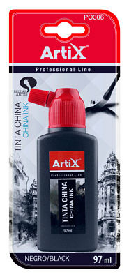 Bote de 100 ml de tinta china negro PO306