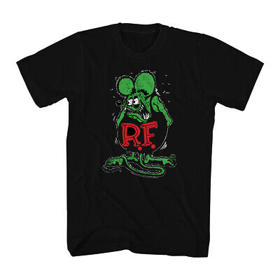 Rat Fink Ratfink Distressed Men's Black T-shirt NEW Sizes S-2XL