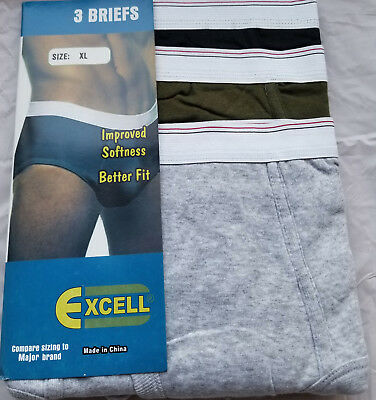 Excell Mens New Grey / Black/green 100% Cotton  Brief 2Xl