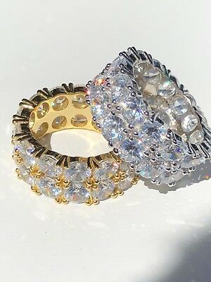 Tennis Ring 14k Gold & Solid 925 Silver Diamond Pinky Wedding Band Mens Womens