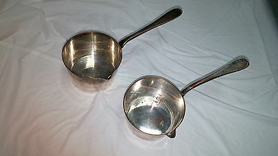 2 Vintage Exeter Stamped Crown Initials Silver Plated Copper Ladle Sauce Spoon