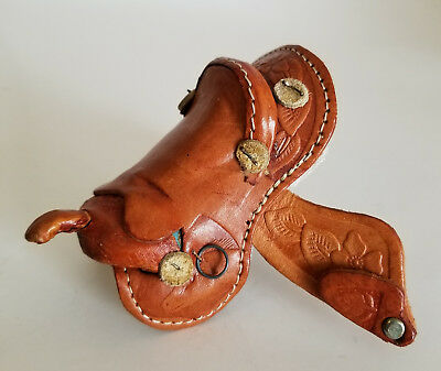 Real Leather Brown Tooled Flower Western Roping Saddle for Breyer Horse