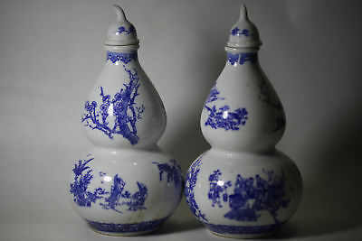 2pc China hand drawing blue and white porcelain Gourd-shaped vase Qianlong Mark