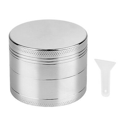 Magnetic Tobacco Grinder Zinc Alloy Herb/Spice Crusher 4 Piece w/ Scoop Silver