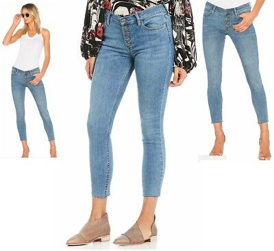 Free People women's blue Reagan raw frayed hem cropped skinny Jeans $78 tag NWT
