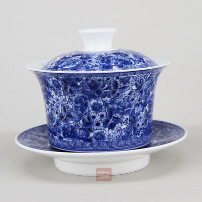 Hand painted butterfly flowers China blue & white porcelain gaiwan tea cup 250cc