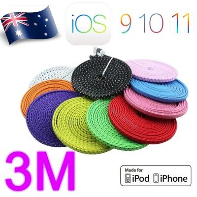 USB Charger Cable 3M For iPhone 5 6 7 5C Charge Cord Lead Long USB Data Braided
