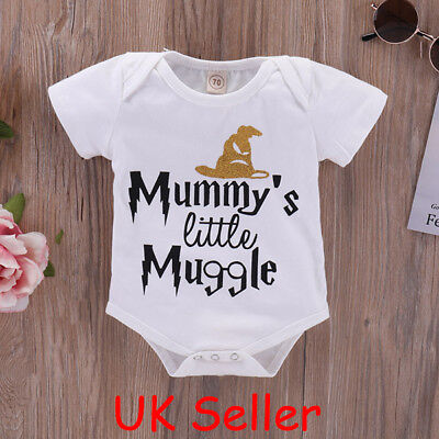 """Baby Boys Girls Harry Potter """"Mummy's Muggle"""" Romper Bodysuit Clothes Outfits UK"""