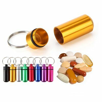 Waterproof Mini Aluminum Medicine Pill Box Case Bottle Holder Container Keychain