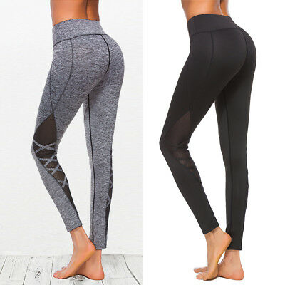 Womens Yoga Pants Fitness Leggings Sports Workout Gym Running Stretch Trouser US