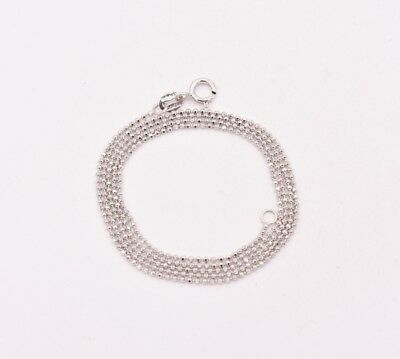 1.1mm Round Diamond Cut Bead Ball Chain Necklace Real Solid 14K White Gold