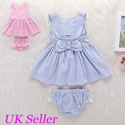 Summer Infant Kids Baby Girls Bow Dresses Tutu Dress Tops+Pants Outfits Clothes