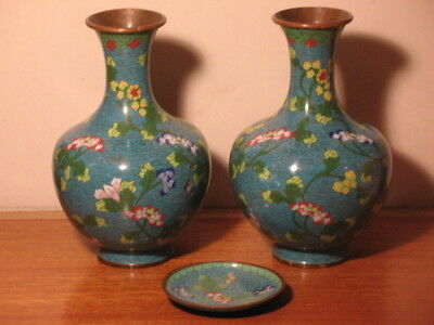 Pair of Chinese Cloisonne Vases & Small Matching Plate (marked China)
