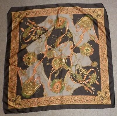Vintage Large Italian  Polyester Brown Stirrup Print  Scarf Good Condition