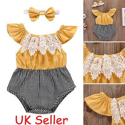 Summer Newborn Baby Girls Lace Romper Bodysuit Jumpsuit Headband Outfits Clothes