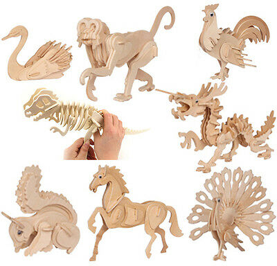 Hot 3D Wooden Simulation Animal Dinosaur Assembly Puzzle Model Toy for Kids