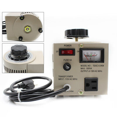500W Metered Variac Variable 110V AC Transformer Auto Regulator 0-130V 500VA USA