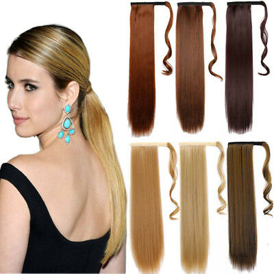 24'' Clip In Pony Tail Synthetic Hair Extension Straight Wave Wrap On Hair Piece