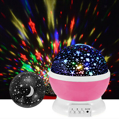 MagiDeal Night Light Star Moon Projector 360° Rotating LED Lamp Kids Gift
