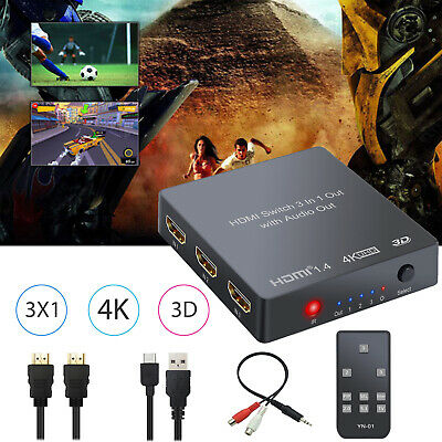3x1 HDMI Switch with Audio Extractor Converter Toslink SPDIF Output Support 4K
