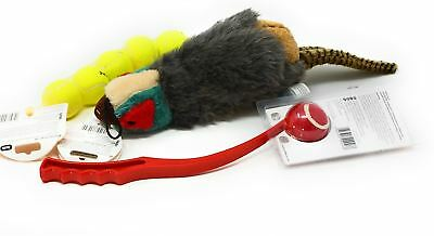 3 Pce Official Licensed Dog Pet Tennis Balls Red Launcher Honking Pheasant Toy