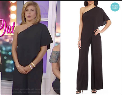 a00592c4419 Adrianna Papell Crepe One Shoulder Jumpsuit Worn by Hoda on Today Black sz  8 NWT