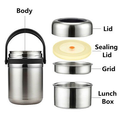 1.8-2.6L Vacuum Insulated Lunch Box Stainless Food Jar Container Thermos Pot