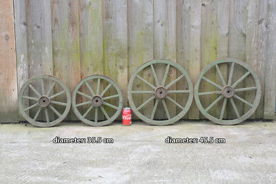 set of 4 vintage old wooden cart carriage wagon wheels wheel - 35.5 cm / 45.5 cm