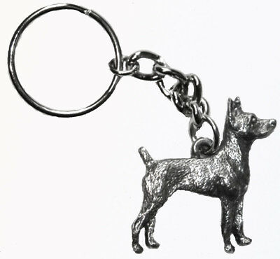 Rat Terrier Dog Keychain Keyring Harris Pewter Made USA Key Chain Ring