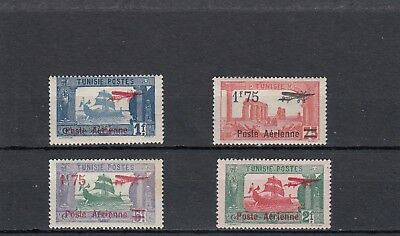 a137 - FRENCH TUNISIA - SG148-151 MM 1927 AIR OVPT AEROPLANE & SURCHARGED