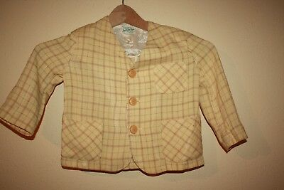 Vintage 1950s Toddler Jacket Little Boys 1t 2t Yellow Check Checkered Linen