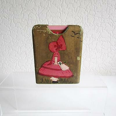 Vintage Hand Painted Wooden Playing Card Holder - Girl With Bonnet