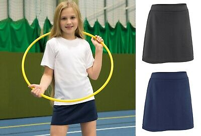 Girls Kids Sports Skort Skirt Tennis Hockey Netball Sport Shorts PE Games Gym