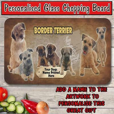 Personalised Border Terrier Glass Chopping Board Dog Pet House Warming Gift