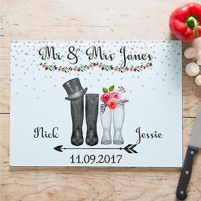 Personalised Wedding Gift Wellies Chopping Board Anniversary Love Home