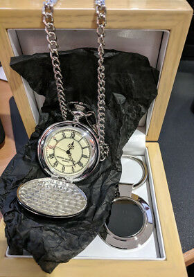Batman Silver Plated Pocket Watch and Key Ring