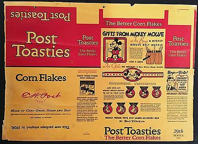 1937 Mickey Mouse Post Toasties Cereal Box - Factory Flat - Disneyana - Jr G-Man