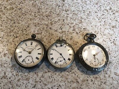 Joblot Of 3 Antique Collectable Solid Silver Pocket Watches Spare Or Repair L@@k