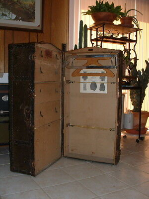 Antique Travel Trunk with Drawers / Wardrobe and 2 Smaller Trunks