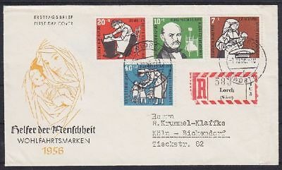 Bund FDC 243 - 246 gel. als R- Brief Lorch - Köln 01.10.1956, first day cover