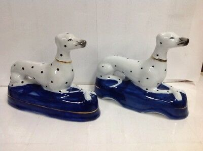 Vintage Fitz & Floyd Staffordshire Style Dalmation Porcelain Dog Bookends