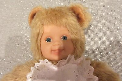 Anne Geddes Baby Bear Light Girl With Apron Doll Teddy Smiling Blue Eyes 12 Inch