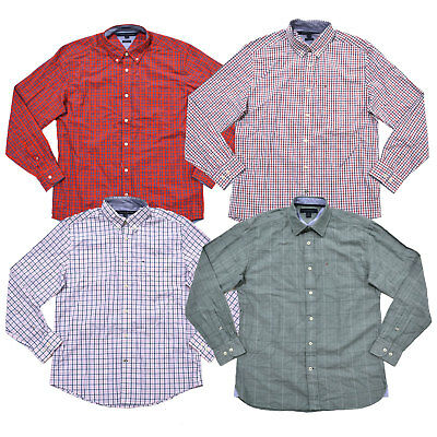 Tommy Hilfiger Mens Button Up Shirt Long Sleeve Classic Fit Casual Woven Top New